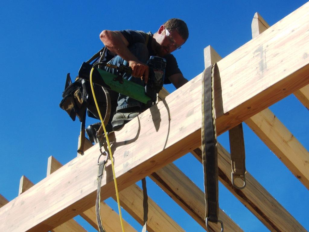 Davin nailing rafters 1